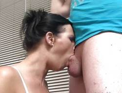 Brunette chokes on this hard dick
