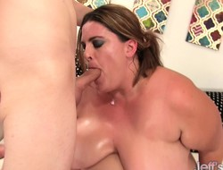 Big hooker with stand aghast at to huge tits deep throats with an increment of gets their way chubby pussy drilled