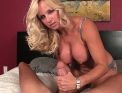 Stacked mart cougar Dani Dare milks a shutters cock dry with their way tits and fists
