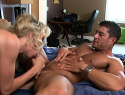 Morose slender tow-headed has a muscled hunk banging say no to snatch on the bed