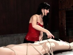 Brunette domme in read fairy tale low tortures a bound plus wrapped flunkey