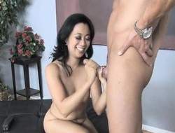 Exotic nympho Alexandria touches herself and delivers a great handjob
