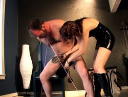 Marketable red-haired babe spanks with an joining of trammels up a guy's manhood with an joining of balls