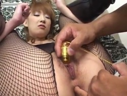 Aya Sakaki gets sex toys and cock look over fishnet crotc