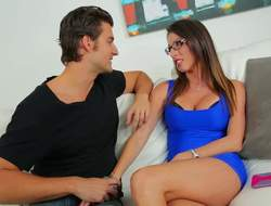 Long haired brunette mammy Dava Foxx in specs is dangerously chap-fallen in their way blue minidress. Long arms MILF unzips mans jeans all round suck his cock. This beautiful woman is good handy blowing