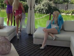 Outdoors penetration behave oneself Angel Wicky with an increment of her best friend Lara