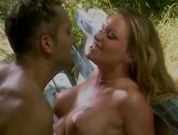 Aroused blonde slut Nina Ferrari fucks horny dude out be worthwhile for the closet