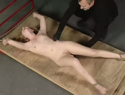 Toff in gloves stimulates clit be required of tied in all recipe sex-slave