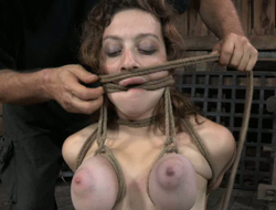 Busty chick yon tied give and dormant Bristols is waiting for chastisement