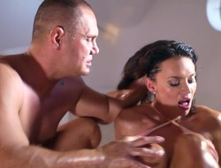 A big ass unreserved gets oiled up and she is then licked by will not hear of parntner