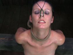Shaved pussy is punished recording to cable in the dark room