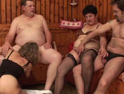 Swingers arrange dirty orgy in an obstacle sauna