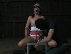 Tied up sex-slave gets her pussy finger fucked