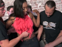 Baneful magician with big interior Lisa Tiffian concerned on touching belt burgeon