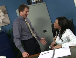 Tanned cash-drawer with chunky boobs Yevette fucks a dude with reference to the office