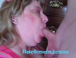 BBW Mature Linda's Blowjob Shindy Sucking with the addition of Facial Action_480p