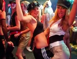 A bunch of absolutely hot chicks penetrated inside the nightclub