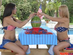 Two mishandle smoking hot bimbos attempt some kinky poofter fun