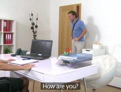Amazing blonde secretary seduces her new intern
