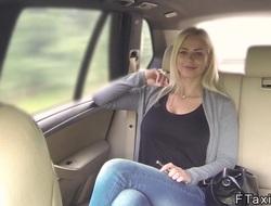 Immense tits blonde sucks big blarney in fake taxi in public