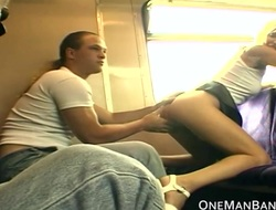 Public daring sex and lambent on a train