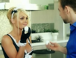 A sexy maid with large tits gets her uniform retire from and has sex