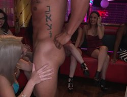 Club girls go wild sucking stripper dick and fucking the guys