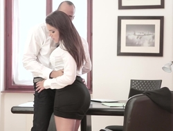 Pertinent down with respect to business with her boss