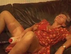 Old and unpredictable intensify granny using a dildo close to masturbate