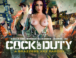 Jasmine Jae & Monique Alexander & Stella Cox & Danny D in Cock Of Duty: A XXX Nudie - Brazzers