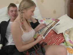 Pig tailed Russian blondie gets protected by her handsome lover