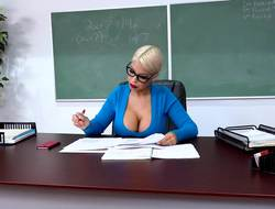POV action with buxom professor that uses her jugs to please student