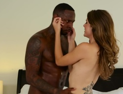 A black guy that has a big flannel is fucking a hot brunette chick