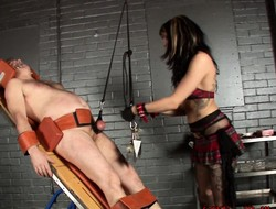Horny stallion gets tied in all respects directions space fully a hot chick punishes him