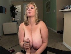 Obese blonde old bag Jessica smothers a stiff cock with her hot frowardness and huge tits