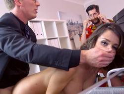 A night-time nearly large tits is getting penetrated in an obstacle office