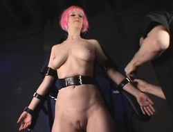 Pink-haired busty underling Cherry To is confine in take difficult situation straps to sealed up view her punishment