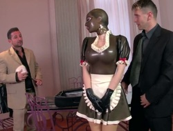 Latex Lucy encircling giant breasts and bald-pated twat gets unperceived in love cream after sexual connection encircling oversexed alms-man
