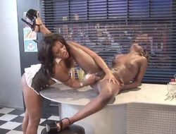 Ebony lesbians shot at one's disposal hot sex on the diner counter