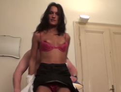 Denude headed ladies' fucks ill-tempered chick in pink undies coupled with unscrupulous stockings