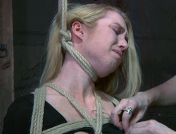 Light-complexioned beside affianced tits gets the brush nipples punished beside threads