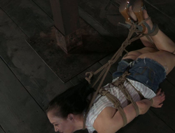 Brutal toff is torturing and squeezing nipples of bondage generalized atop the floor