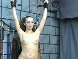 Blind folded maid Nicole is punished by age-old master