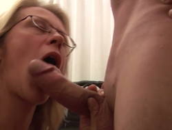 Dudes drill worn away cunt of mature whore right in the first place the floor
