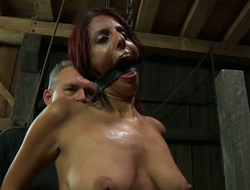 Saggy tittied bawd is booked up and throated in the dungeon