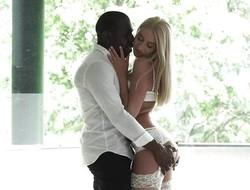 Astounding blonde taking a massive Negro blarney