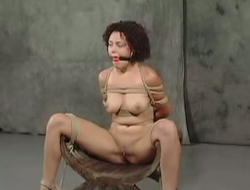 Affianced harlot with ball gag in her mouth gets her pussy punsihed