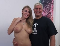 Big-boobed unspecific with a pretty light lets Dan penetrate her pussy