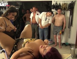 Curvy homophile Cora Kitty fucks chum around with annoy brush GF in front be required of torrid dudes