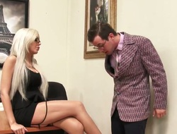 Awfully slutty blond haired secretary fucks like a mad two close to put emphasize office